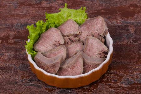 Gurmet pork tongue snack appetizer Foto de archivo