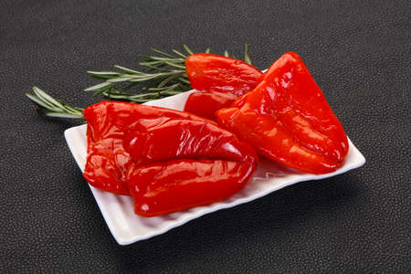 Pickled red bell pepper with oil