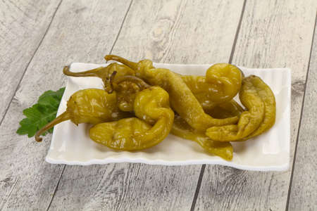 Pickled green pepper in the bowl