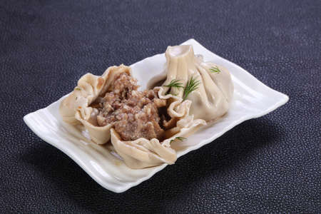 Caucasian traditional Khinkali with meat Banco de Imagens