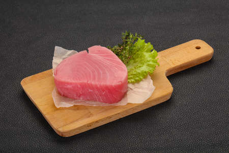 Raw tuna steak ready for cooking