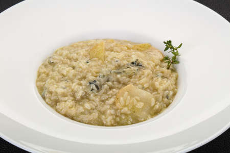 Risotto with pear and gorgonzola cheese Banco de Imagens