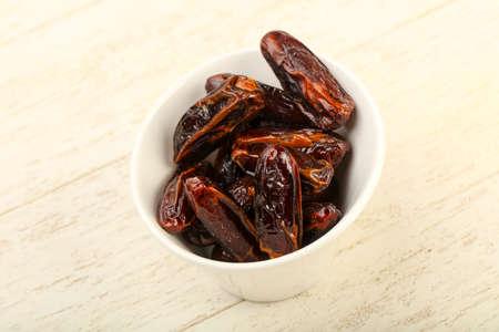 Sweet dates fruit heap in the bowl Stockfoto