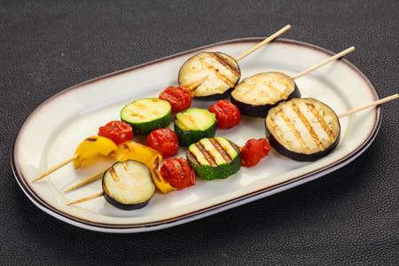 Vegan Vegetable skewer - egglant, zucchini, pepper and tomatoes
