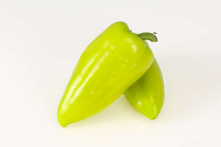 Sweet green bell pepper isolated on white background