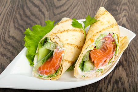 Salmon bread roll with cheese Banco de Imagens