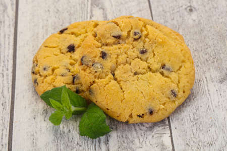 Tasty American cookies with chicolate