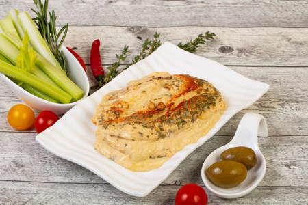 Vegan cuisine - Humus with celery sticks