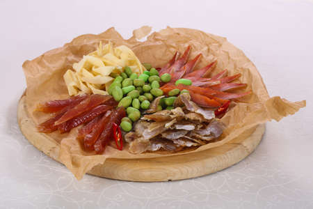 Fish and seafood snack board plate for beer