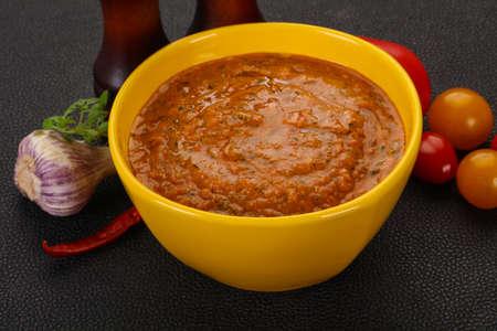 Famous Spanish gazpacho tomato cold soup Banque d'images