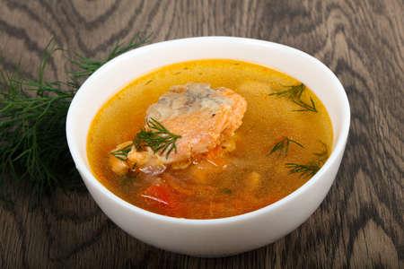 Salmon fish soup Banque d'images
