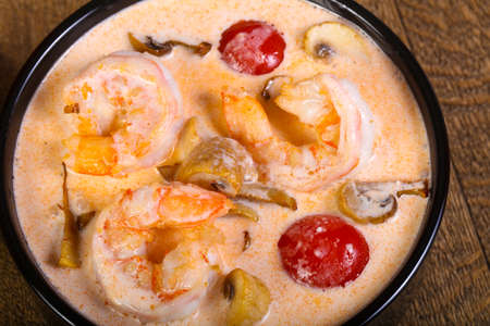 Thai traditional Tom Yam soup with shrimp