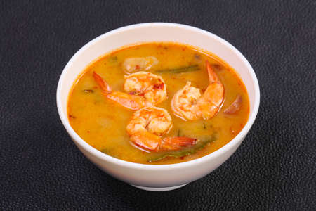 Famous Thai Tom Yam soup with prawn Stock Photo