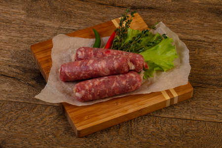 Raw pork sausages ready for cooking
