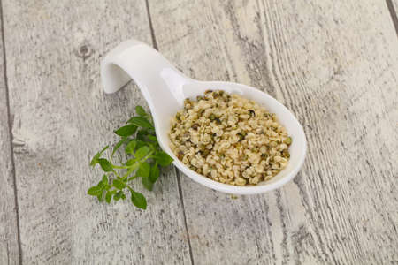 Peeled hemp seeds in the bowl over wooden background Stockfoto