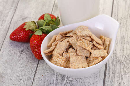 Wheat flakes for breakfast with milk and strawberry 版權商用圖片