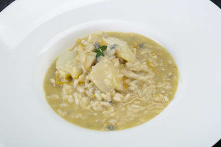 Risotto with pear and gorgonzola cheese 版權商用圖片