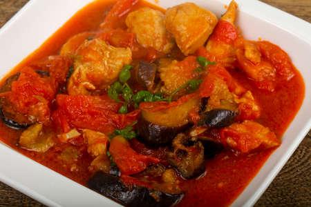 Chicken Thai Curry with eggplant and tomato Zdjęcie Seryjne