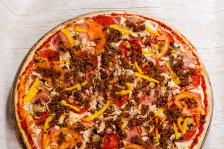 Pizza with minced meat and vegetables Stock Photo