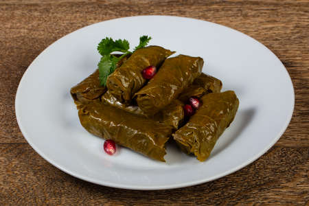 Caucasian traditional Dolma - minced meat in grape leaves Banco de Imagens