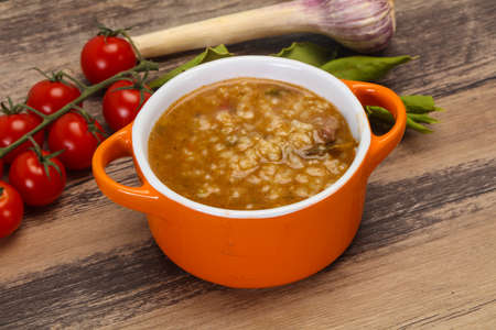Caucasian Kharcho soup with beef meat and rice Stock Photo