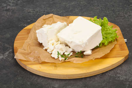 Greek traditional Feta soft cheese in the plate 写真素材