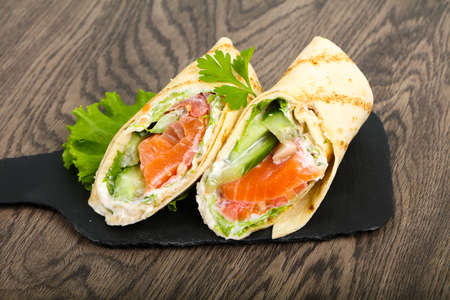 Salmon bread roll with cheese Banco de Imagens