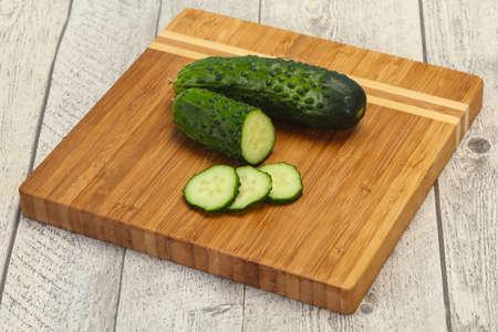 Ripe fresh green two cucumbers ready for vegan