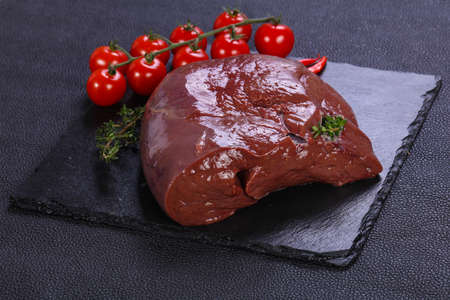 Raw pork liver ready for cooking
