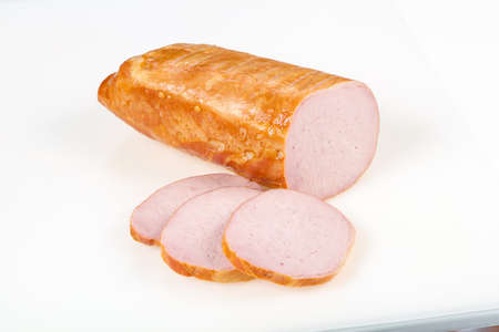 Tasty meat sausages ready for eat over white background Banco de Imagens - 128602128