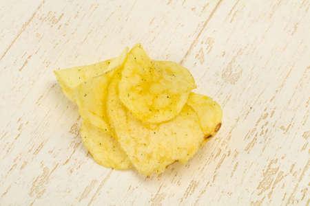 Natural potato salted chips heap