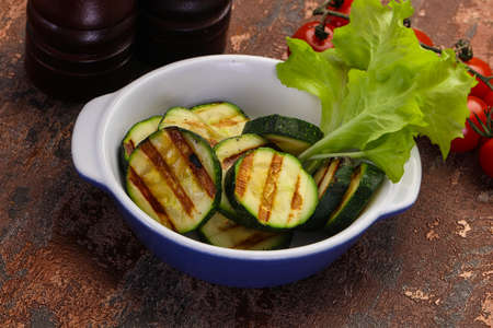 Vegan cuisine, grilled young zucchini Banco de Imagens - 128602525