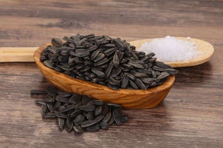 Tasty roasted sunflower seeds heap ready for eat Banco de Imagens