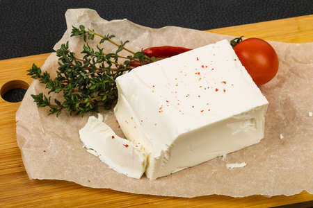 Traditional Feta Cheese served thyme Stock fotó