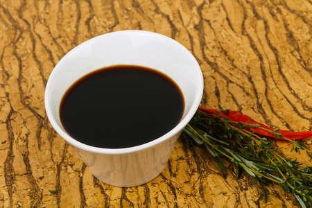 Soya sauce in the bowl served pepper Zdjęcie Seryjne