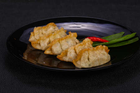 Japanese traditional cuisine Gyoza dumplings with meat and seafood
