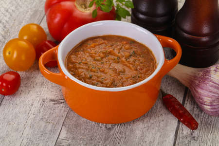 Famous Spanish gazpacho tomato cold soup Stock Photo