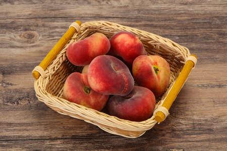 Sweet ripe tasty few flat peaches Zdjęcie Seryjne