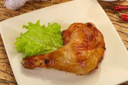 Crispy tasty Roasted chicken leg Stock Photo