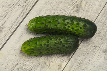 Ripe fresh green two cucumbers ready for vegan