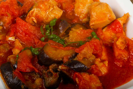 Chicken Thai Curry with eggplant and tomato Stock fotó
