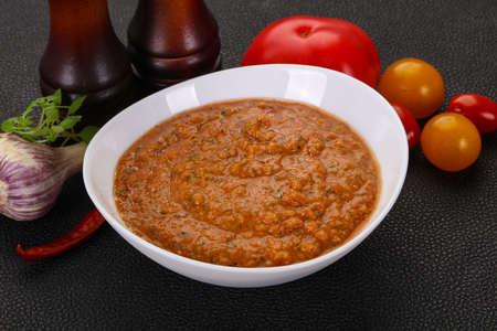Famous Spanish gazpacho tomato cold soup Stok Fotoğraf