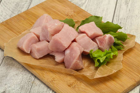 Raw fresh pork meat cube ready for cooking Stock fotó
