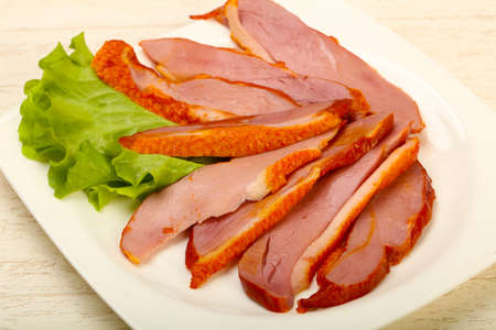 Sliced duck breast with skin
