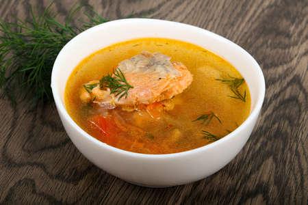 Salmon fish soup Stok Fotoğraf