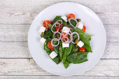 Salad with feta cheese and spinach Zdjęcie Seryjne