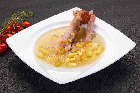 Peas soup with smoked ribs Stock fotó