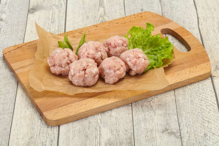 Homemade raw pork minced meatball ready for cooking