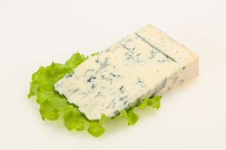 Italian traditional gorgonzola cheese isolated on white Imagens