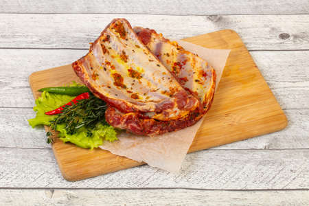 Marinated Raw pork ribs for grill